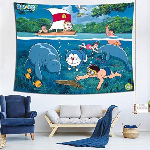 LSSQT Tapices,Doraemon Decoración Anime 3D Tapiz De Moda Colchas Marroquí Telón De Fondo Colgante De Pared Alfombras De Pared Talla D
