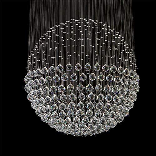 Not a brand Lámpara de Techo Luz Pendiente de la luz de la lámpara Decoración de Cristal acrílico Plata del Cromo LED de Techo Moderna (Color : Cold White)