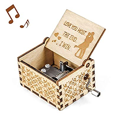 Mr.Winder Music Box Wife Girlfriend Gift - Love You Most The End I Win Anniversary Birthday Valentine Hand Crank Musical Box Girl Boy Gifts Romantic Melody You are My Sunshine Wooden Artware
