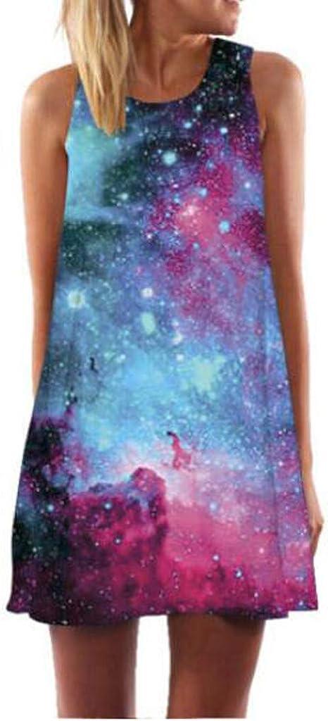 Women's A-Line San Jose Mall Mini Skirt Summer V Beach O-Neck shopping Dress Sleeveless