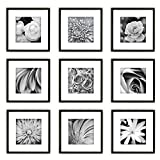 Gallery Perfect Gallery Wall Kit Square Photos with Hanging Template Picture Frame Set, 8' x 8', Black, 9 Piece