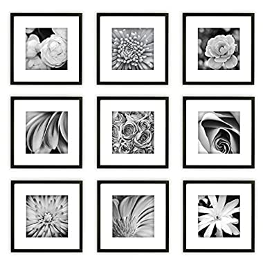 Gallery Perfect Gallery Wall Kit Square Photos with Hanging Template Picture Frame Set, 8  x 8 , Black, 9 Piece