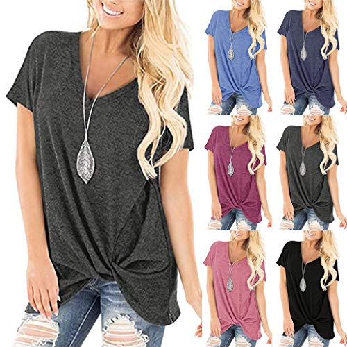 Women's Tops V-Neck Twist Knot T-Shirt Summer Solid Color Short Sleeve Soft Comfortable Outdoor Sport Blouse Pink