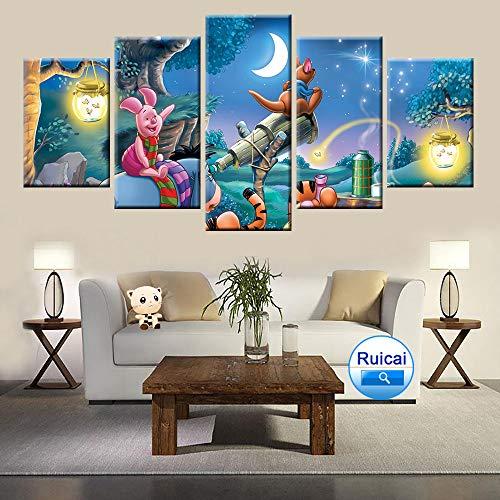 5 Panel Hd Druck Winnie The Pooh Cartoon Poster Leinwand Malerei Für Kinderzimmer Dekoration Kunst Modulare Bild(NO Frame size 2)