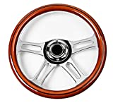 350mm 14' Inch Classic Nostalgia Style Wood Grain Steering Wheel Slotted 4 Spoke Chrome Steering Wheel Mohagany Wood Grip