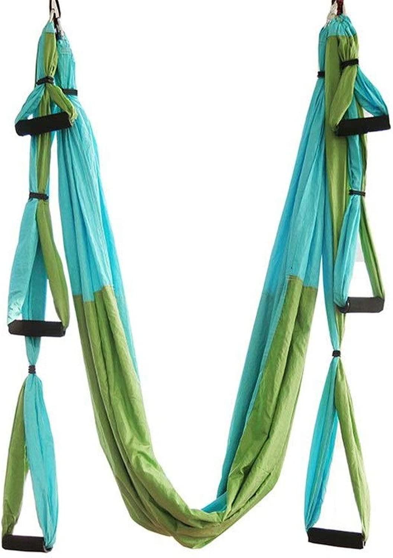 ハンギングプレートと延長ベルトフルセットと耐久性のある空中ヨガハンモック反転反転ヨガハンモック 体を伸ばすのに役立つ (色 : Double spell 緑, サイズ : 250x150cm)