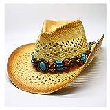 Jiangqiong, 2019 - Sombrero de Rafia para Hombre con ala Ancha y Hueco, Color Turquesa, Estilo Vintage, Paja, 1, 56-58CM