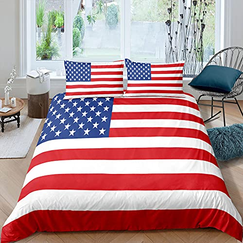 Funda Nordica Cama 135 Bandera Estadounidense Suave Transpirable Ropa de Cama con 2 Funda de Almohada 50x75 cm - 220x230 cm