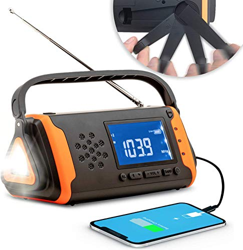 WOSOB 防災ラジオ 防災ソーラーラジオ 手回しラジオ 充電式ライト・ラジオポータブルラジオ AM/FM対応携帯式ラジオ SOS緊急警報 多機能 4000 MAH大容量 防災懐中電灯 USB充電 停電 台風 防災緊急対策 日本語説明書付き
