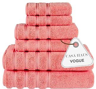 Casa Haus Vogue - Algodón Air Twist 600 gsm - Juego de Toallas de 6 Piezas - 2 Toallas de baño, 2 Toallas de Mano 2 paños, Juego de Toallas - Coral Vivo