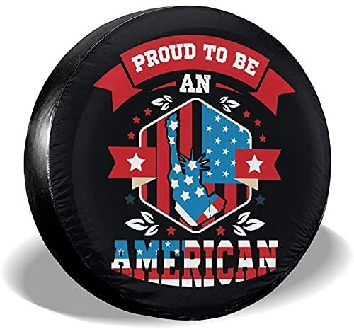 Proud to Be American Cubierta de neumático de repuesto,poliéster Universal 16 pulgadas Cubierta de neumático de rueda de repuesto para remolque,RV,SUV,camión,camión,camper,viaje,remolque,acces