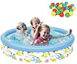 Piscina Juguetes para niños Piscina Infantil con Ocean Ball y Bomba Inflable para jardín al Aire Libre Summer Family Fun 102 x 25cm