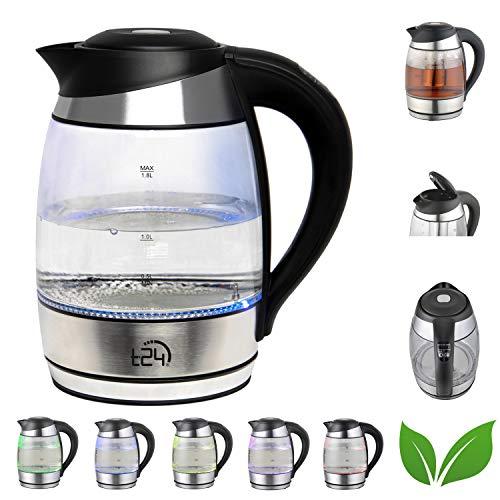T24 Glas Wasserkocher 1,8 L Temperaturwahl 60-100°C mit Teesieb 2200 Watt, Borosilikatglas Teekocher mit LED-Beleuchtung, BPA Frei