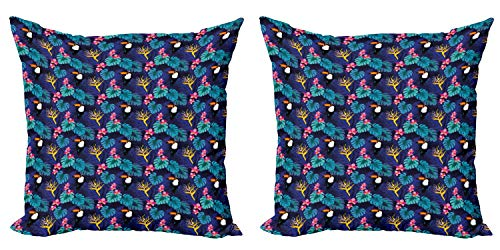 ABAKUHAUS Aloha Set de 2 Fundas para Cojín, Tropical Island Nature Tucán, con Estampado en Ambos Lados con Cremallera, 40 cm x 40 cm, Multicolor
