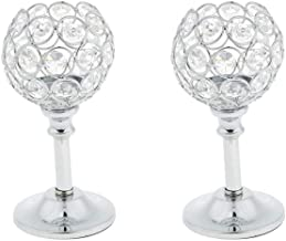 Homyl 2Pcs Silver 16.5cm Crystal Tea Light Candle Holder Candelabra Candlestick