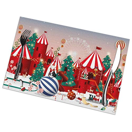 Christmas Wonderland Placemats for Dining Table Set of 6 Washable Table Mats Kitchen Mats Easy Clean Placemats for Room Kitchen Table Decor 12 X 18 in