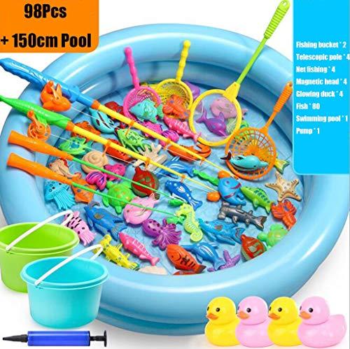 Pesca magnética piscina juego de los juguetes for los niños 98 PC con Pesca 59 pulgadas piscina y el Polo de Rod neto de plástico que flota pescado pato magnética Agua Juguetes Edad 3 4 5 6 años