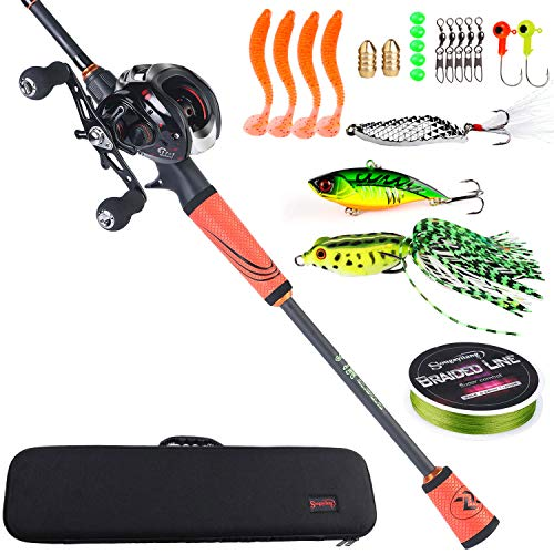 Sougayilang Ultralight Fishing Rod Reel Combos Portable Light Weight High Carbon 4 Pc Travel Fishing Pole Fishing Reel -2.1M/6.89FT Casting Rod with Right Handed Reel with Case -Orange