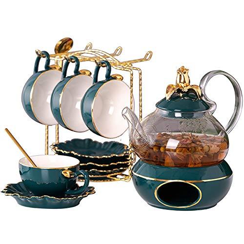 GYFHMY Keramik-Teeservice, kreatives leichtes Keramik-Teeservice für, Metallhalterung, Geschenkverpackung mit grüner Glasurblume, geeignet für die Heimdekoration