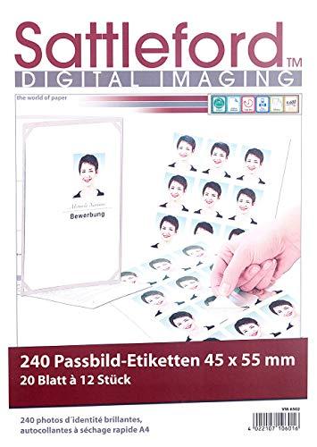 Sattleford Laser-Etiketten: 240 Bewerbungsfoto-Etiketten hochglänzend 45x55 mm (Etikettendrucker)