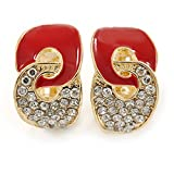 Vergoldete Ohrclips, Unendlichkeit, mit roter Emaille und transparenten Kristallen