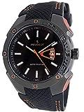 Peugeot Men Water Resistant Sports Watch with Calendar & Black Rubber Strap w/Orange Stiching
