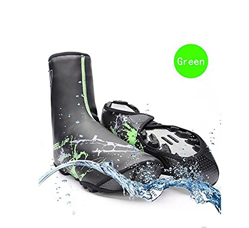 V-best Bike Shoe Covers, Outdoor Sports Cycling Shoe Covers Waterproof Warmer Overshoes Shoe Cover for Men Women MTB Winter Rain Cycle Bicycle Mountain Road Toe Cover (Green, Standard)