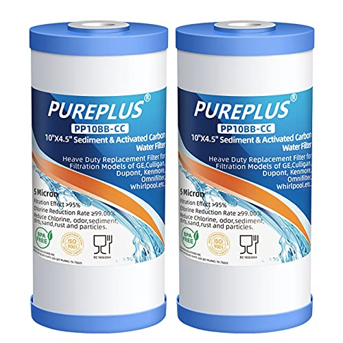 """PUREPLUS 5 Micron 10"""" x 4.5"""" Whole House Sediment and Carbon Water Filter Replacement Cartridge for GE FXHTC, GXWH40L, GXWH35F, GNWH38S, Culligan RFC-BBSA, WRC25HD, PP10BB-CC, Pentek RFC-BB, 2Pack"""