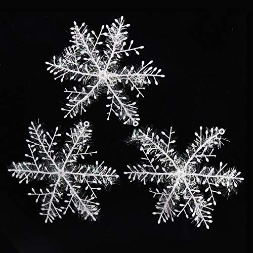 CamKpell Weihnachten Schneeflocken Schneeflocken Saiten Christbaumschmuck Christbaumkugeln Schneeflocken Christbaumschmuck-Weiss 18Cm3 Stck