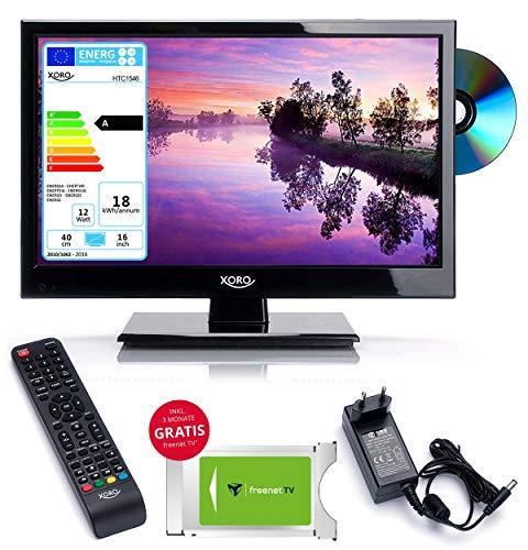 netshop 25 Wohnmobil Camping LED TV Fernseher Xoro HTC 1560 40 cm (15 Zoll) + FREENET CI+ Modul (3 Monate Gratis) HD, DVD Player, USB Mediaplayer, PVR Ready, Triple Tuner DVB S2 / T2 / C / 12V / 230V