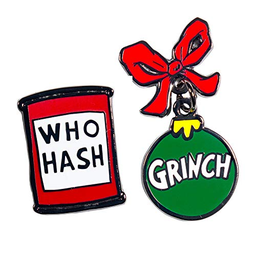 Pin Kings Official Dr Seuss The Grinch Who Hash Collectible Metal Enamel Pin Badges - Set of Two Enamel Pins on a Backing Card - Official Merchandise