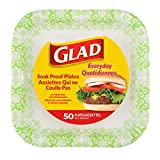 Glad Square Disposable Paper Plates for All Occasions | New & Improved Quality | Soak Proof, Cut Proof, Microwaveable Heavy Duty Disposable Plates | 10' Diameter, 50 Count Bulk Paper Plates