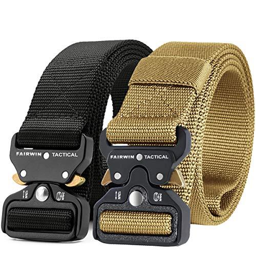 Fairwin Tactical Belt 2 Pack, Military Belt 1.5 Inch Nylon Web Belt Mens Work Belt with Heavy-Duty Belt Quick-Release Buckle