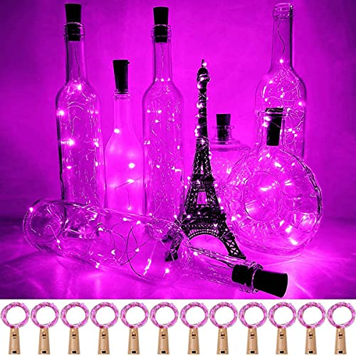 ADLOASHLOU 10 Pack 20 LED Wine Bottle Lights with Cork, 6.5ft Silver Wire Cork Lights Battery Operated Fairy Mini String Lights for Liquor Bottles Party Wedding Halloween Christmas Decoration Pink