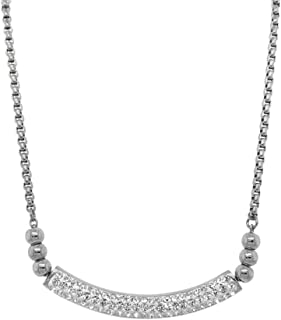 Bevilles Stainless Steel Pave Crystal ID Bolo Necklace