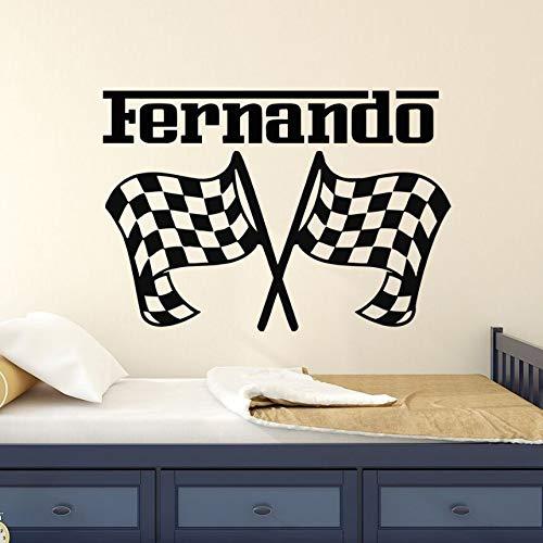 Vinyl Wandmalerei Rennflagge Wandkunst Aufkleber Home Dekoration benutzerdefinierten Namen Geschwindigkeit Rennflagge Wandaufkleber Junge Zimmer Kunst Wanddekoration A5 82x57cm