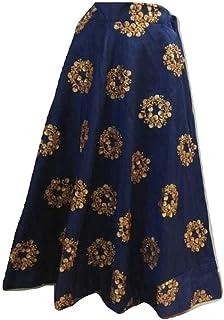 SNEH Women's Silk Heavy Work Skirt (Blue,Free Size)