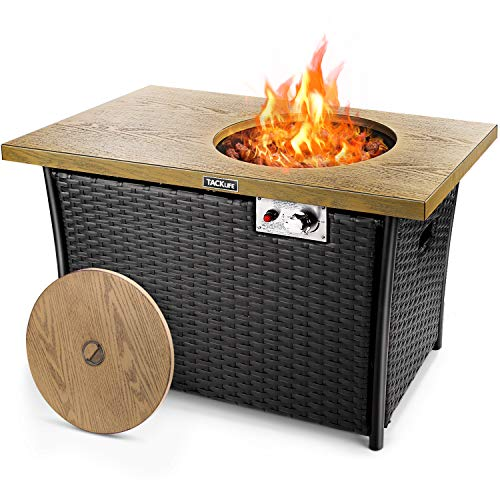 TACKLIFE Fire Table, 41 Inch 50,000 BTU Auto-Ignition Gas Fire Pit with Lid, Hand Knitted Rattan, Strong Steel Imitation Wood Tabletop, ETL Certification, Ideal for Patio, Garden, Backyard
