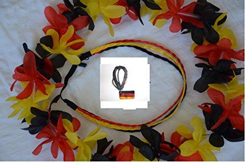 Deutschland-Set Deutschland WM-Fussball-Weltmeisterschaft Fan-Set 3tlg. 1x Armband (Schwarz / Rot / Gelb), 1x Deutschlandkette (Hawaikette) und 1x Haarband 3-Zöpfe (Schwarz/Rot/Gelb) Sport Fan