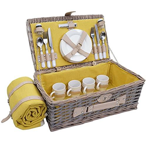 Mendler Picknickkorb-Set HWC-B24 für 4 Personen, Weiden-Korb, Porzellan Edelstahl - grau-gelb