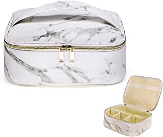 HOYOFO Makeup Bag Organizer Case Travel Cosmetic Case Portable with Removable Dividers for Men and Women,Marble White