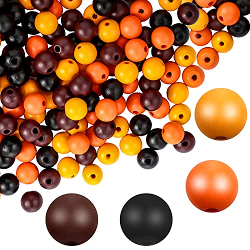 180 Pieces 16mm Wood Round Beads Colorful Smooth Painted Painted Loose Beads Round Ball Wood Spacer Beads for Home Party Decoration DIY Crafts Making (Thanksgiving Color)