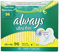 Always Ultra Thin Regular Pads With Wings, Unscented, 96 Count by Always [並行輸入品]