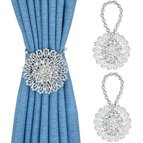 Mikomer 2PCS Magnetic Curtain Tiebacks European Style Sparkling Flower Window Curtain Bind Holdback Buckles Clips Tie Backs Drapery Holders with Stretchable Spring Wire Rope for Decoration,Silvery