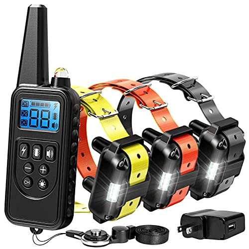 Dog Training Collar, Range 2600ft Rechargeable Dog Collar with Remote, 4 Modes Light Beep Vibrating Water Resistant…