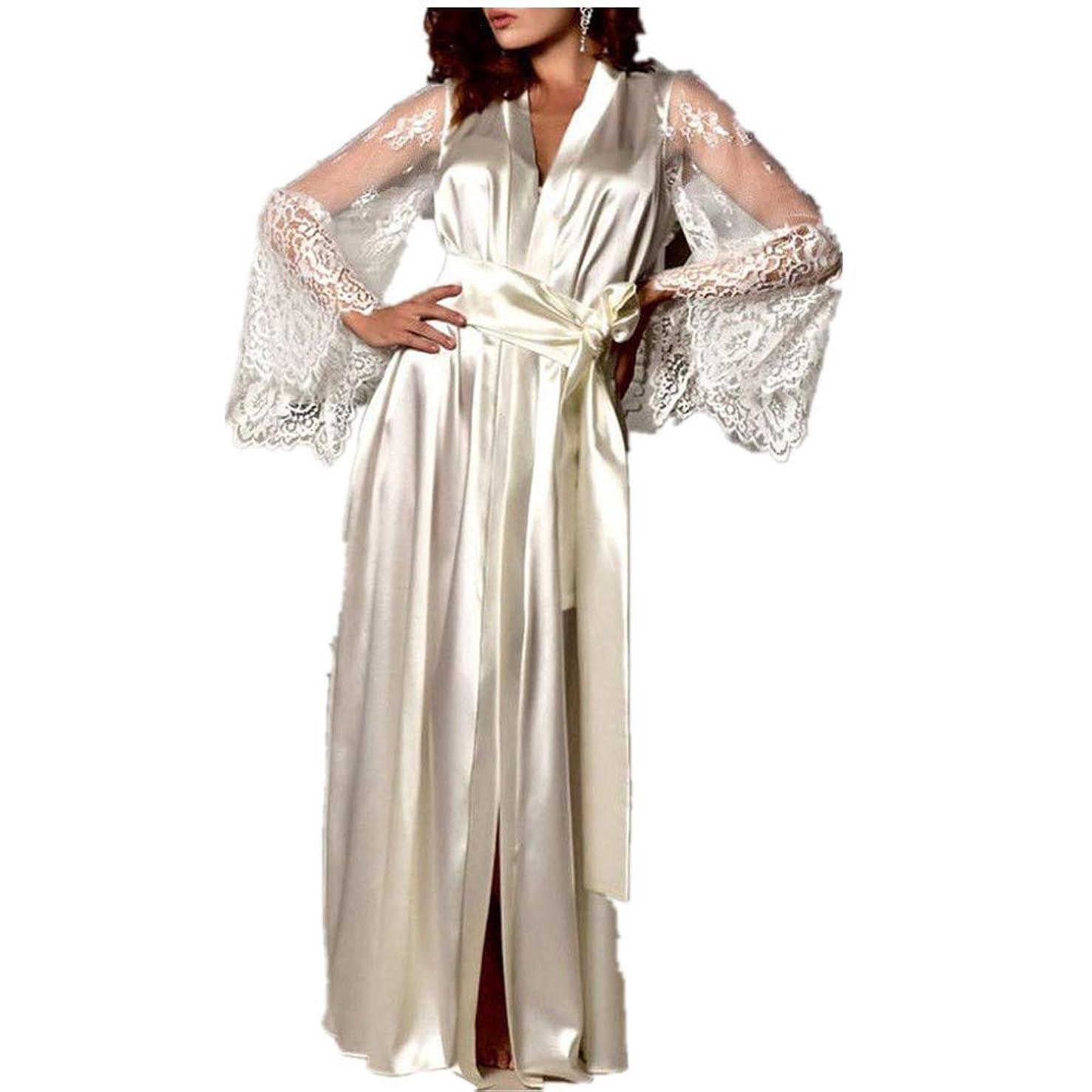 Women's Satin Pajamas Long Nightdress Lace Patchwork Nightgown Sleepwear Sexy Robe