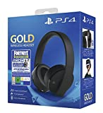 PlayStation Casque-micro sans fil PS4, Avec voucher Fortnite, Audio 3D, Édition Gold, Noir