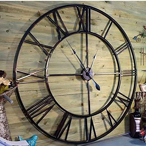 FOOSKOO Desk Clock Wanduhr Wall Clocks römische Ziffern 80 cm / 31.5in Moderne 3D Großen Retro Schwarz-Eisen-Art Hohle Wanduhr Römische Ziffern Home Decor