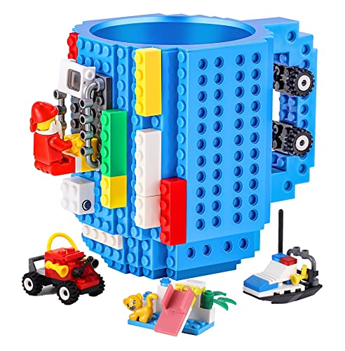 DEEXITO Build-on Brick Mug,Creative DIY Cup with 3 Packs of Building Blocks Randomly,Unique Kids Party Theme Cups Compatible with Lego,Novelty Coffee Mugs for Water Juice,Idea Gift for Christmas,Blue