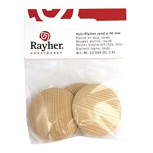 Rayher 6256700 Holz-Platine, rund, gewölbt, SB-Btl. 5 Stück, 25 mm ø